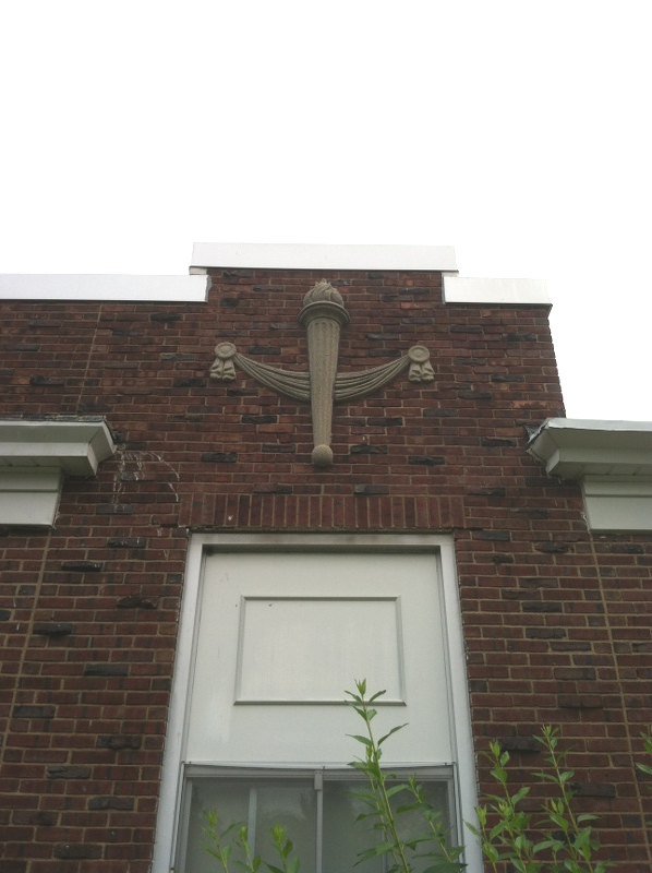 Fully repaired ornamental feature after - Central School, Warren, NJ