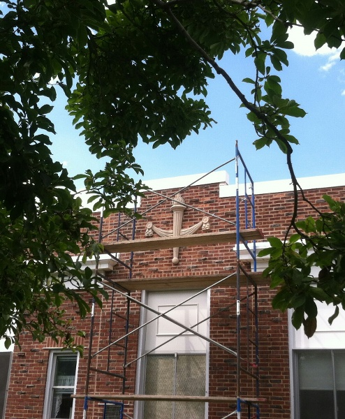 Section replacement of ornamental feature in process - Central School, Warren, NJ