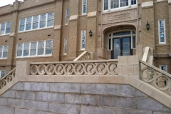 front staircase with reproduced ornamental pieces in place-Spartanburg Community College