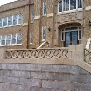front-staircase-with-reproduced-ornamental-pieces-in-place-spartanburg-community-college